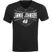 Jimmie Johnson Checkered Flag Fall 14 Last Lap V-Neck T-Shirt – Black