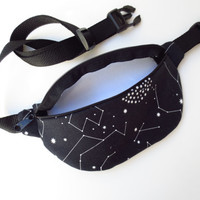 Constellations Fanny Pack - Black with White