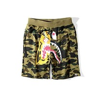 BAPE summer tiger shark stitching men and women loose casual five points shorts F-A-KSFZ Green