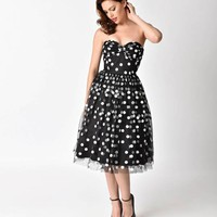 Preorder - Janie Bryant For Unique Vintage Black & White Dot Strapless Janie Swing Dress