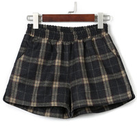 Yellow Plaid Elastic Waist Pocket Detail Woolen Shorts
