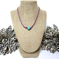 Turquoise medium purple suede leather choker necklace, turquoise knotted genuine leather, turquoise bead, suede leather cord, gift