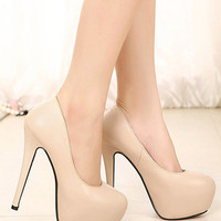 Apricot Almond Toe PU Leather Platform Pumps