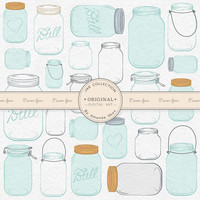 Professional Mason Jar Clip Art / Jar Vectors - Mason Jar Clipart, Glass Jar Clipart, Preserve Jar Clipart, Jam Jars, Mason Jars, Glass Jars