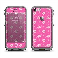 The Pink & Tiny White Floral Pattern Apple iPhone 5c LifeProof Fre Case Skin Set