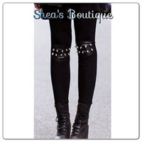 Black Leggings with Spikes by SheaBoutique on Etsy