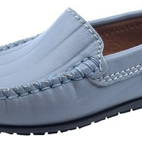 Atlanta Mocassin Boy's and Girl's Leather Embossed Stripe Loafers, Stone Grey