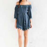 ASTR Seville Embroidered Trim Off-The-Shoulder Romper - Urban Outfitters