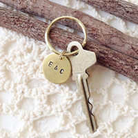 Custom Couple's Stamped Brass Key Ring