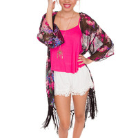 So Fancy Floral Kimono - Black