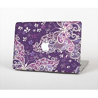 """The Purple & White Butterfly Elegance Skin Set for the Apple MacBook Pro 13""""   (A1278)"""