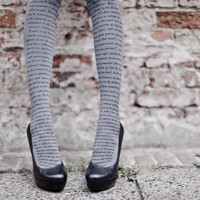 Love Text Print Tights Medium Grey & Black One Size By Zohara