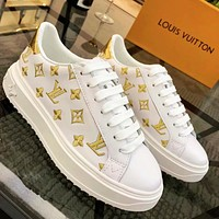 Inseva Louis Vuitton LV Embroidery Contrast Shoes White Gold tail