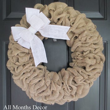 Burlap Wreath with White Burlap Bow, Country, Spring Easter Fall Winter, Year Round, Fall, Porch Door Decor