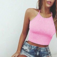 Solid Pink Cotton Cropped Top Camisole = 5710671233