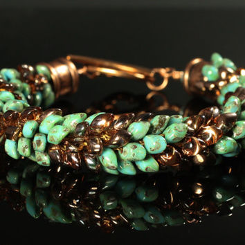 Green and Copper Kumihimo Bracelet, Magatama Jewelry, Striped, Beaded, Statement, Toggle Clasp, Dragon Scales, Feather, Pinecone, Turquoise