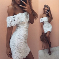 Sexy Female Summer Party Lace Short Dress Off the Shoulder Dresses Brazil Women's Clothing Black White