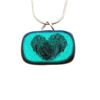 Fingerprint heart jewelry, small dichroic glass fingerprint heart jewellery necklace, memorial jewellery, personalized jewelry