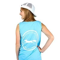 Original Logo Tank Top in Lagoon Blue by Country Club Prep