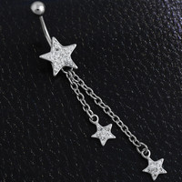 New Charming Dangle Crystal Navel Belly Ring Bling Barbell Button Ring Piercing Body Jewelry = 4661636292