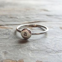 Pebble Monogram Signet Ring