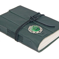 Green Leather Journal with Cameo Bookmark - Ready to Ship -