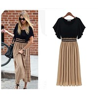 fhotwinter19 Knitted chiffon stitching extra-large short-sleeved waist slimming dress