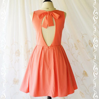 Alice In Wonderland II - Adorable Coral Pink Dress Cut Off Back Sundress Party Dress Spring Summer Sundress Coral Bridesmaid Dresses XS-XL