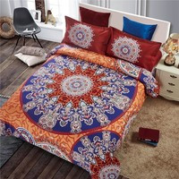 Bohemia style Boho Bedding Sets Queen Size Print Bedspread 4pcs Bed Linen Sheets Duvet Cover Set Blue/red color