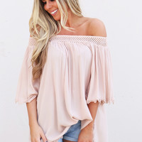 All I Need Off The Shoulder Top {Nude}