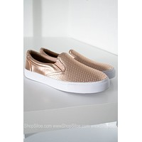 Rose Gold Metallic Slip On Shoes