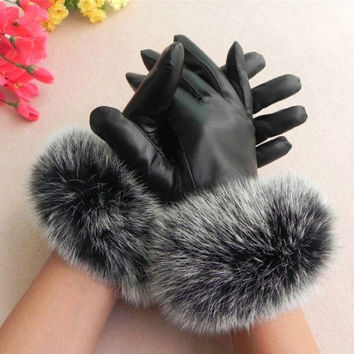Women's leather Gloves Autumn Winter Warm Rabbit Fur gloves Sheepskin Mittens = 1698058052