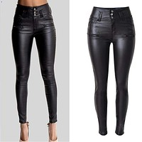 High Waisted Skinny Leather Jeans
