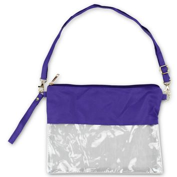 KnitPopShop Clear See Through Clutch Cross-Body Messenger Bag Clear Purse, NFL & NHL Stadium Approved w Adjustable Strap