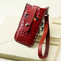 iPhone 4S Wristlet Case w Card Pocket Red Crocodile Embossed Leather by FleurdeLeather