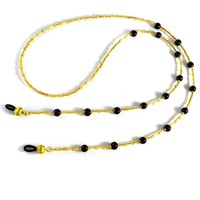 Elegant Black and Gold Eyeglass Lanyard