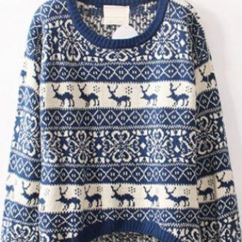 Christmas Deer Round Neck Sweater Blue  S008601