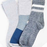 BDG Marled + Stripe Crew Sock Multi-Pack- Blue One