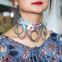 Festive Holographic Choker Punk Laser Collar Necklace Spikes Chain