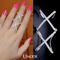 Cubic Zirconia Stacking Ring Micro Paved Criss Cross Ring Cubic Zirconia X Ring X Cross Ring Long Finger Ring Silver Ring Crisscross Ring