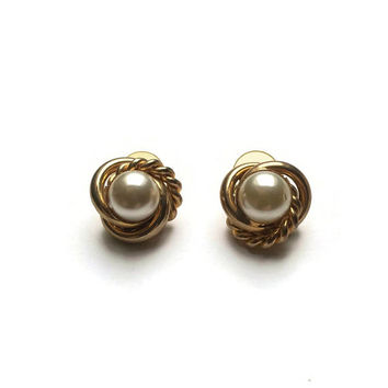 80's Gold Plated Earrings | New Old Stock NOS Vintage Earrings | Gold And Faux Pearl Earrings | Made In England