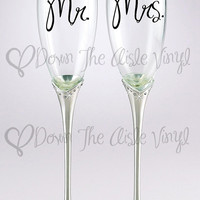 Mr. & Mrs. Vinyl Decal for Toasting Flutes