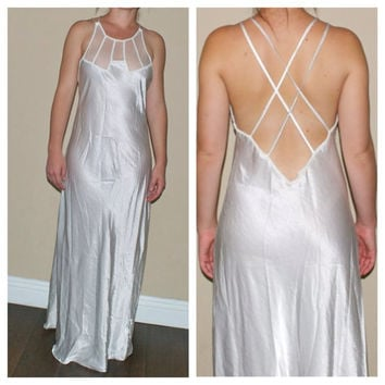 90s White Long Night Gown Teddy w/ Sheer Criss Cross Low Back