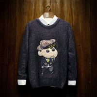 Embroidery Pullover Pen Sweater [9269614279]