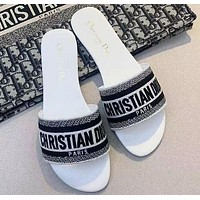DIOR new home D woven embroidered flat slippers, printed outer wear thick heel slippers Shoes