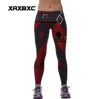 New 539 Sexy Girl leggins Suicide Squad Harley Quinn Belt Plaid Printed Polyester Elastic Fitness Workout Women Leggings Pants