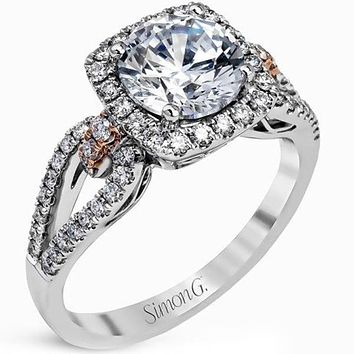 Simon G. Split Shank Cushion Halo Diamond Engagement Ring