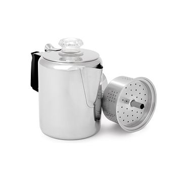 GSI Outdoors Glacier Stainless Steel Percolator Coffee Pot with Silicone Handle for Camping and Backpacking | For Individuals and Groups 12 cup