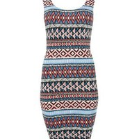 New Look Mobile | Blue and Red Aztec Vest Dress