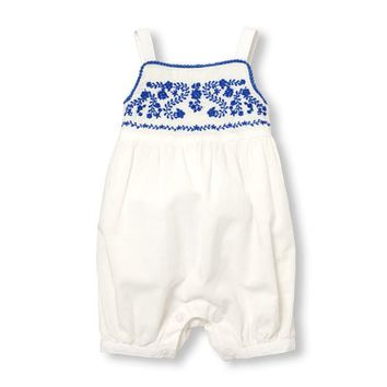 Baby Girls Sleeveless Floral Embroidered Romper